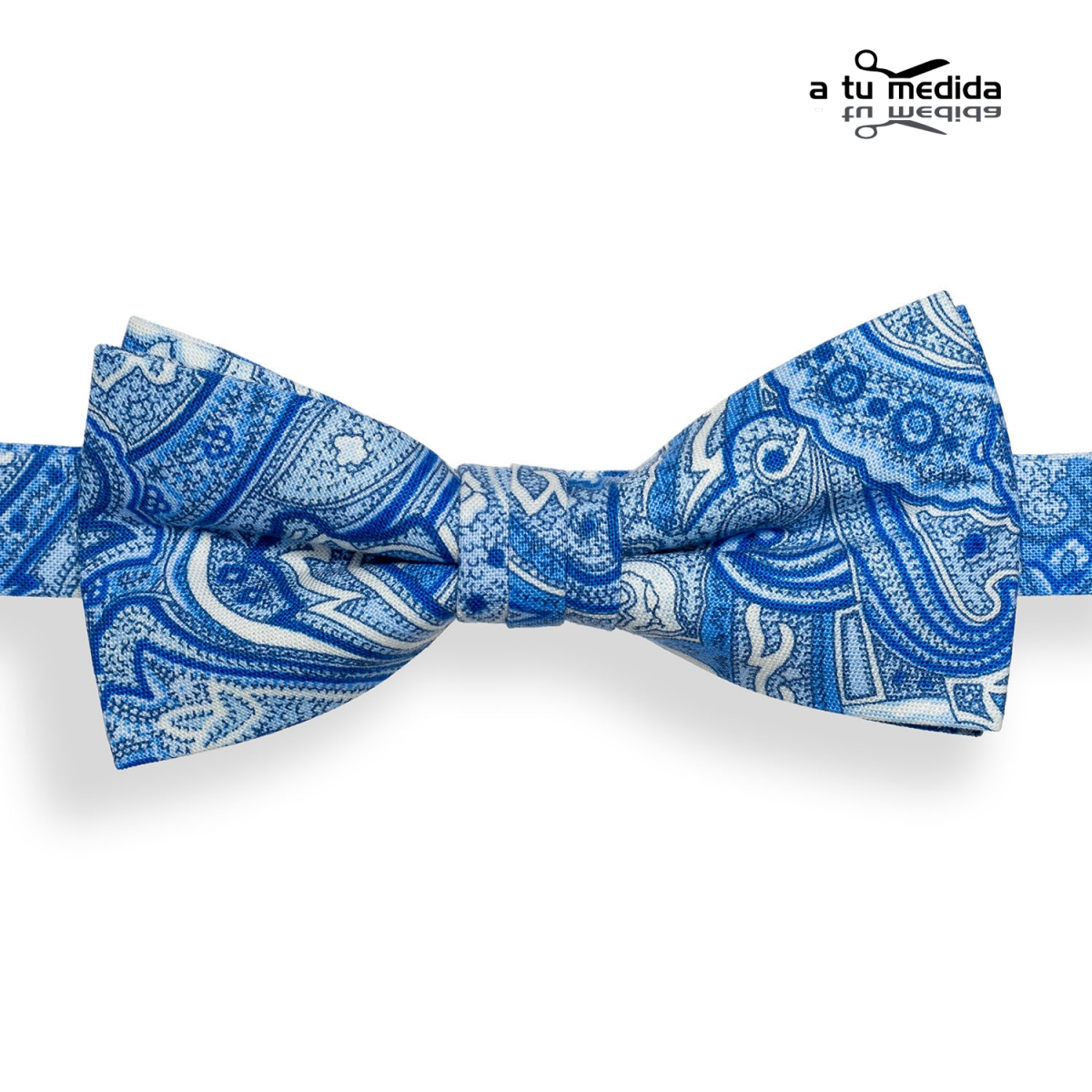 Pajarita-Azul-Cachemir-con-Dibujos-en-Azul